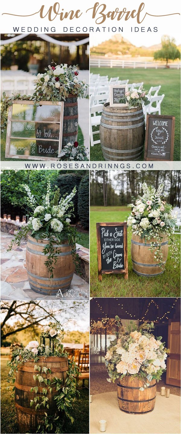 rustic country wine barrel wedding decor ideas