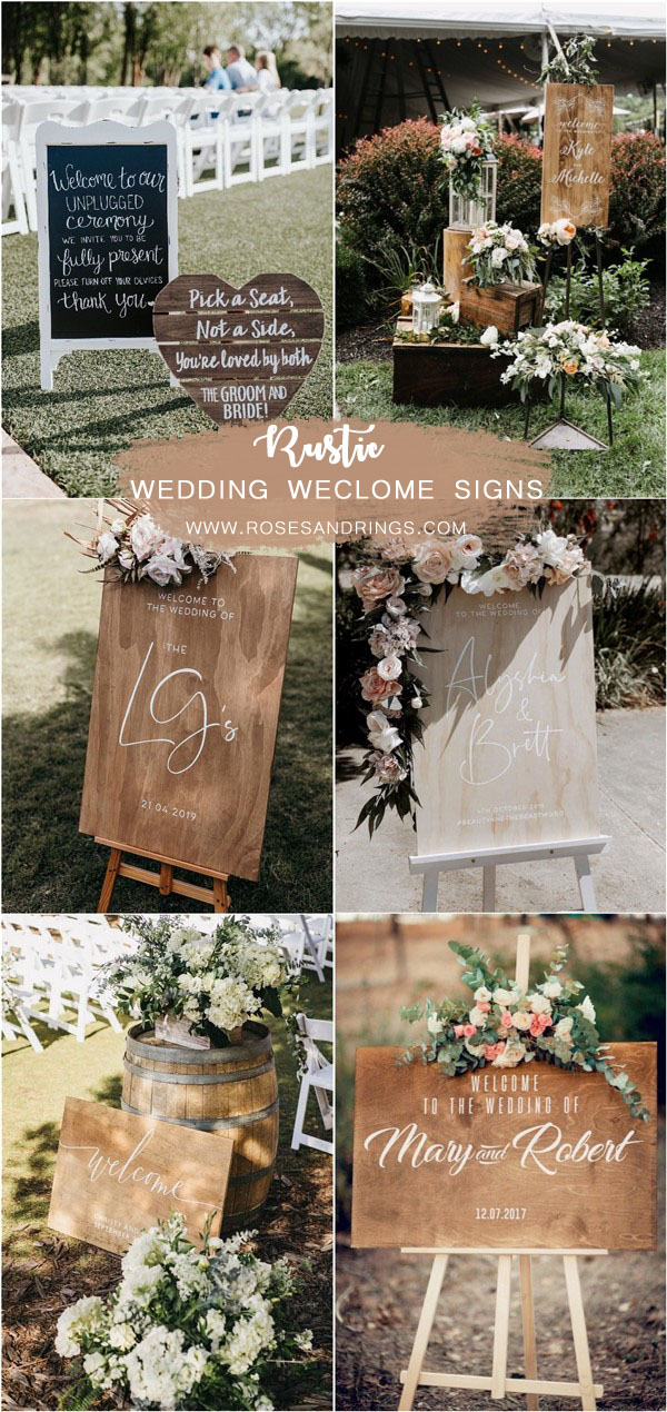 rustic wooden wedding welcome signs