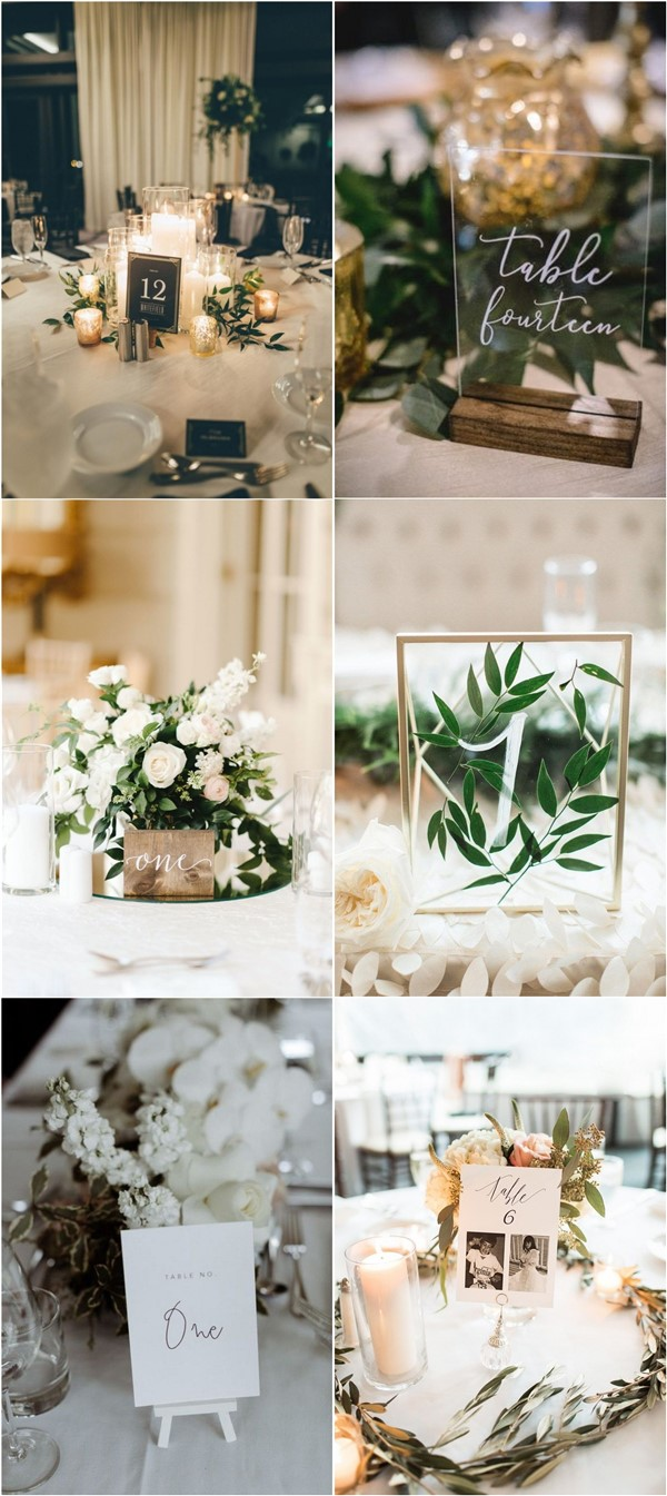 chic wedding table number and wedding centerpiece ideas