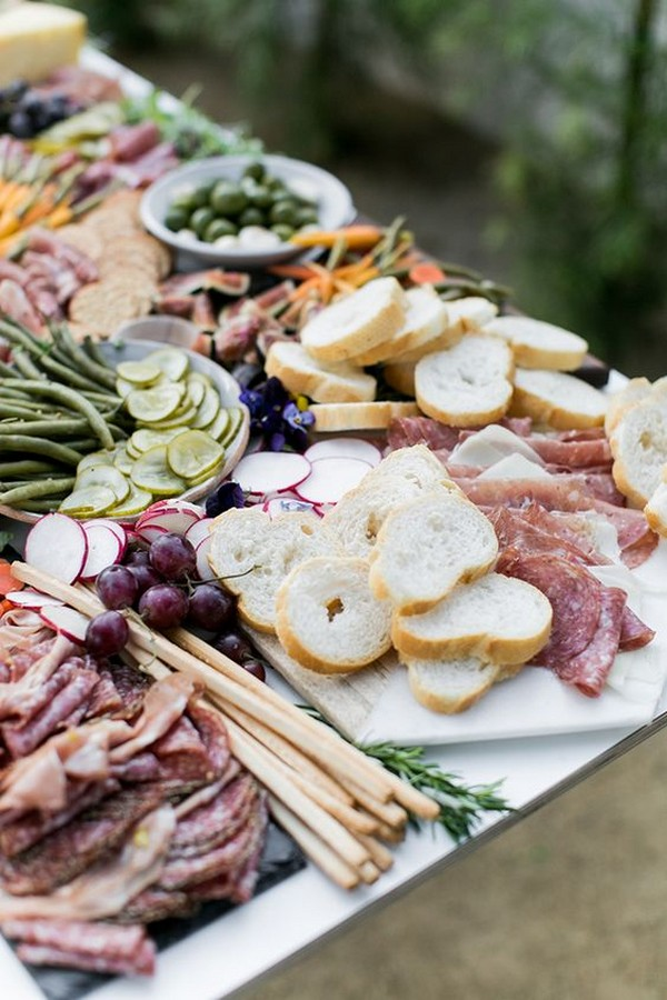 outdoor wedding food ideas with charcuterie table