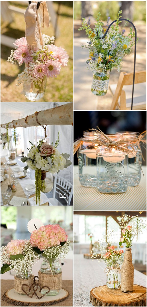 Mason Jars Inspired Vintage Country Wedding Ideas