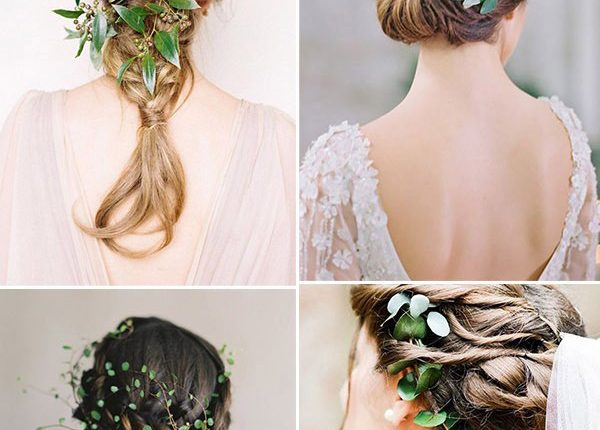 Stylish minimalist greenery bridal hair decoration ideas