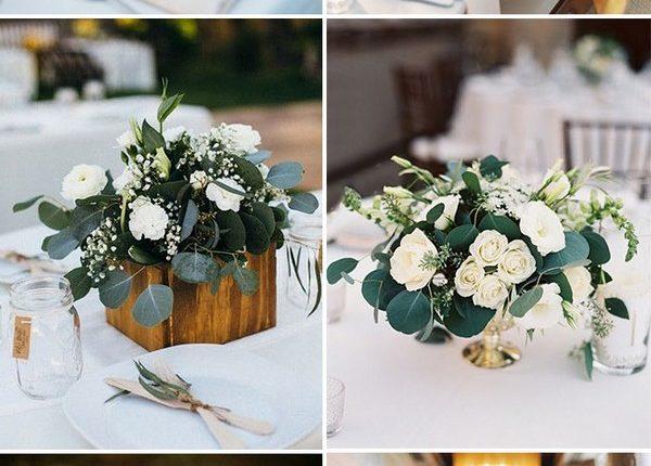 elegant white and greenery wedding centerpieces ideas