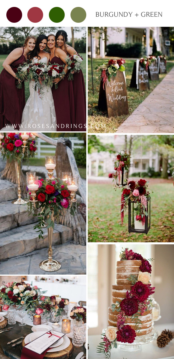fall burgundy wine and green wedding color ideas
