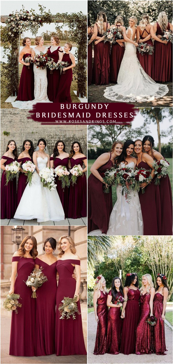 fall burgundy wine bridesmaid dresses