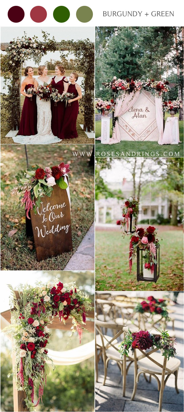 fall burgundy wine wedding color ideas