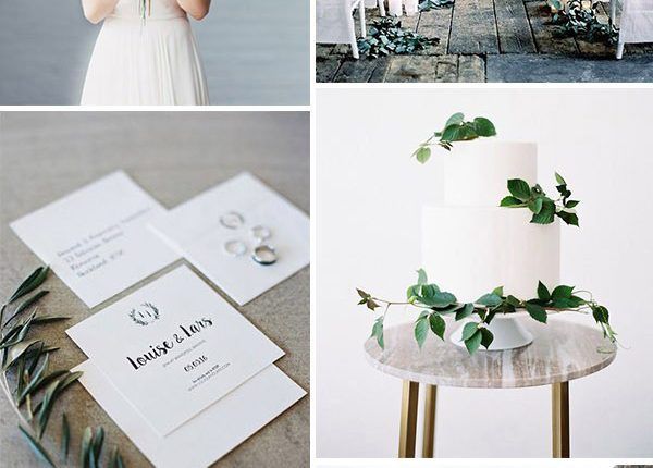 grey and white minimalist organic garden wedding ideas