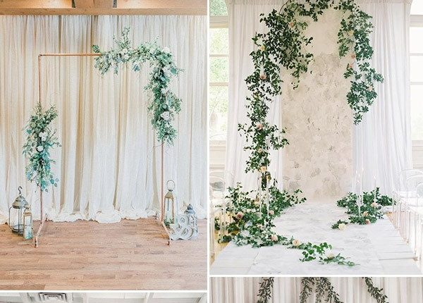 simple organic vine modern wedding ceremony backdrop ideas