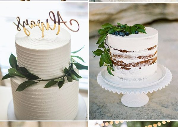 simple white organic wedding cakes for minimailist weddings