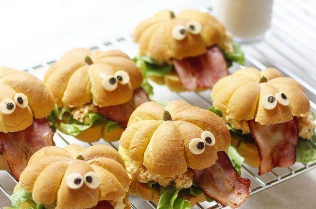 Halloween with pumpkin monster sandwiches