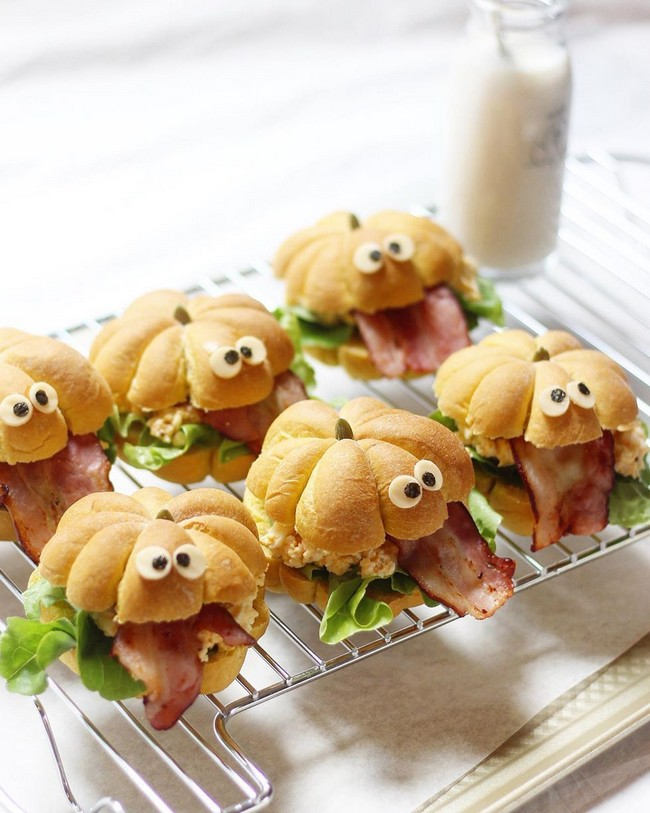 Halloween with pumpkin monster sandwiches
