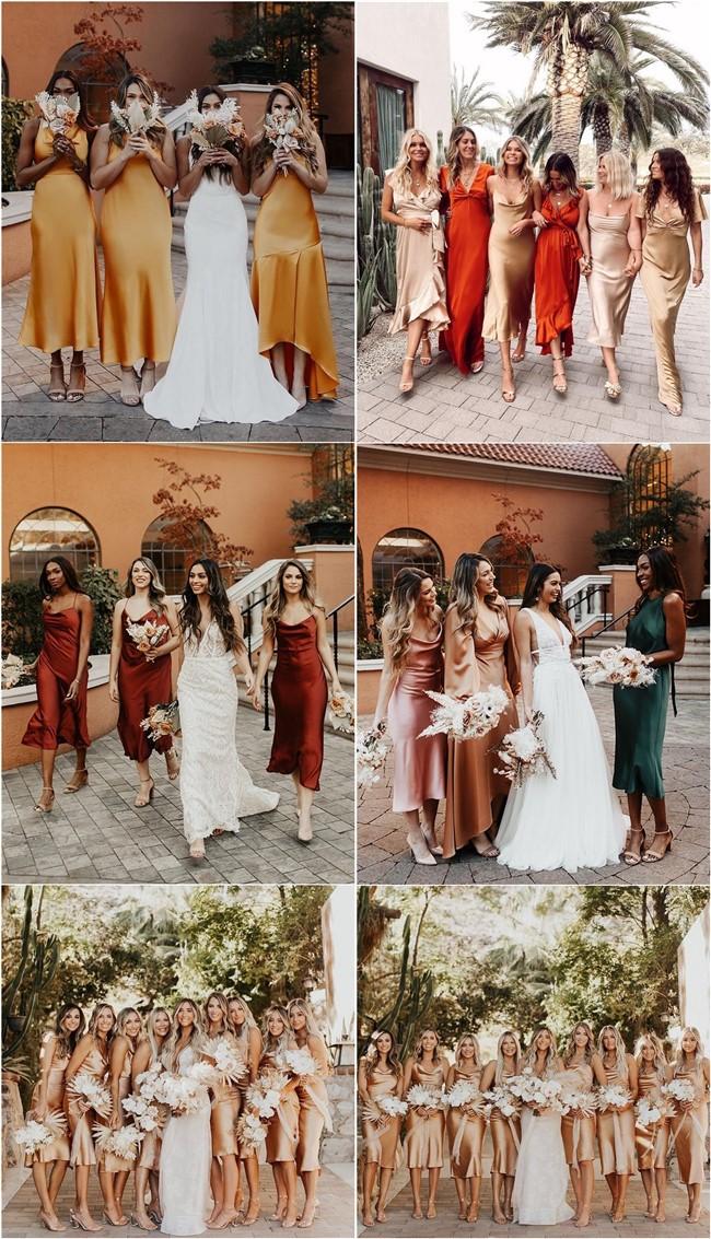 Silk Slip Bridesmaid Dresses #bridesmaid #dresses #weddingideas
