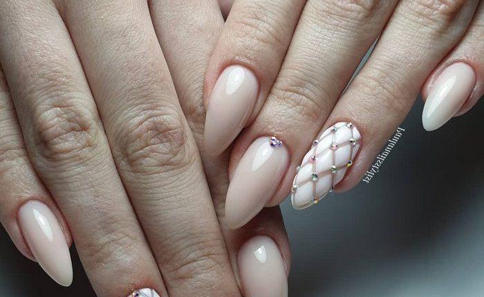 Pink White Wedding Nail Art Design Ideas 1