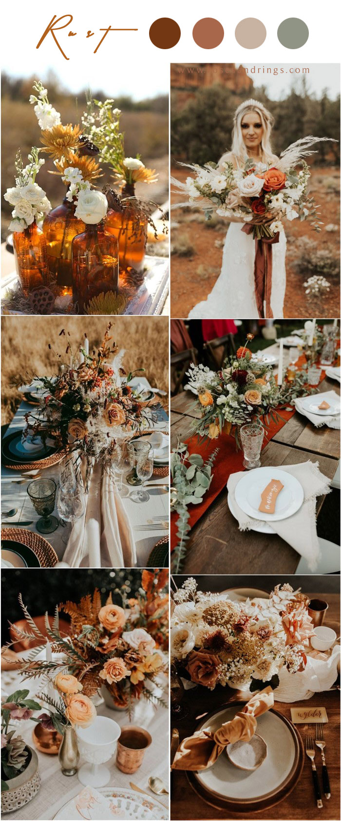 Bohemian rust dusty orange wedding color ideas #rustwedding #fallwedding #weddingcolors #weddingideas #dustyorange