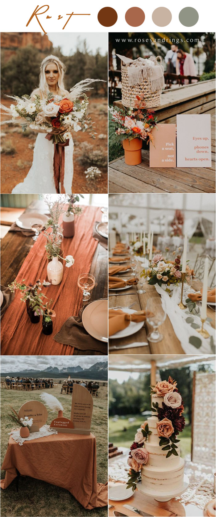 Bohemian rust dusty orange wedding color ideas 6