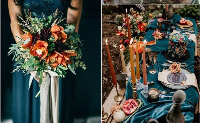 Dark teal and burnt orange fall wedding color ideas
