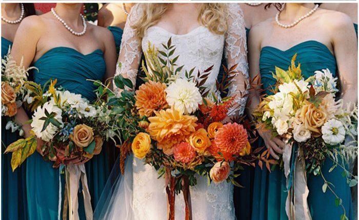 Dark teal and burnt orange rust fall wedding color ideas 2021