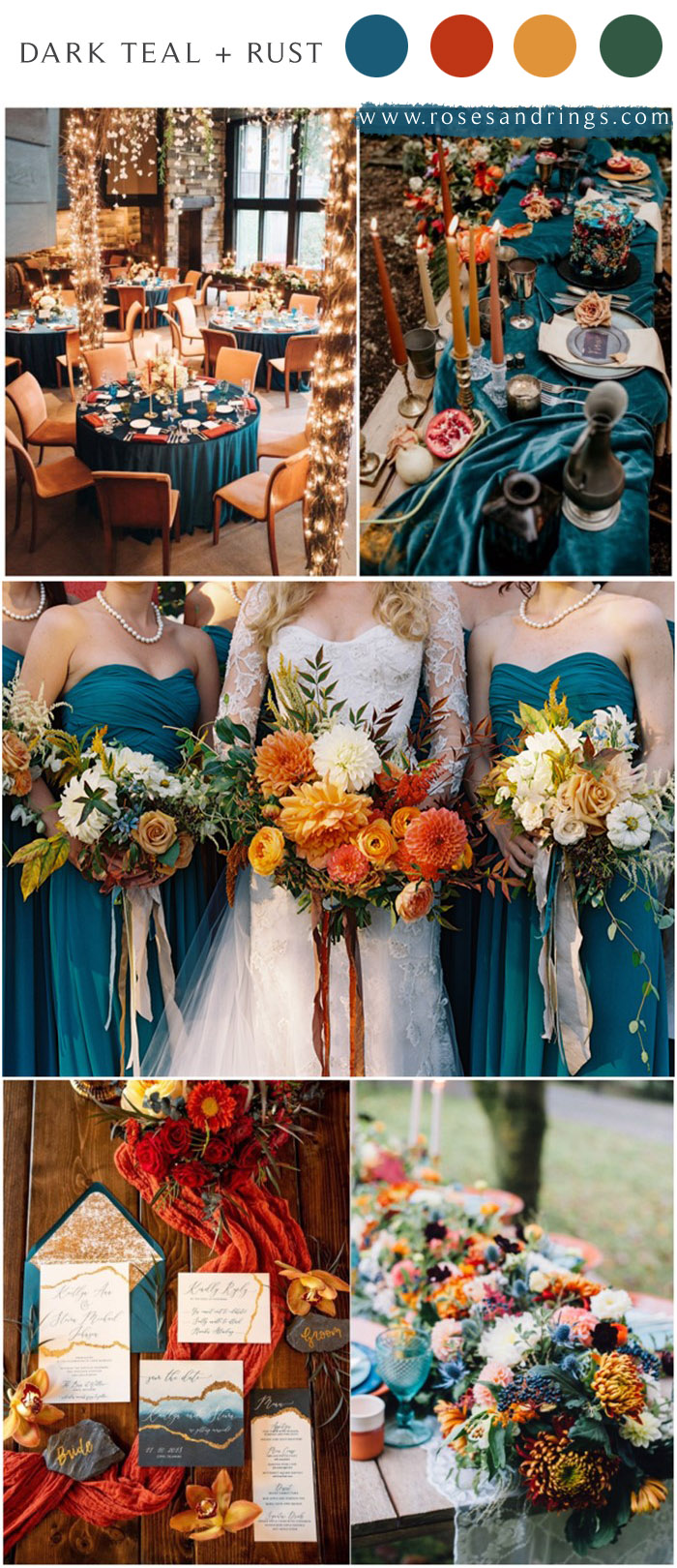 Dark teal and burnt orange rust fall wedding color ideas 2021 #wedding #weddingcolors #weddingideas #fallwedding #blueweddings