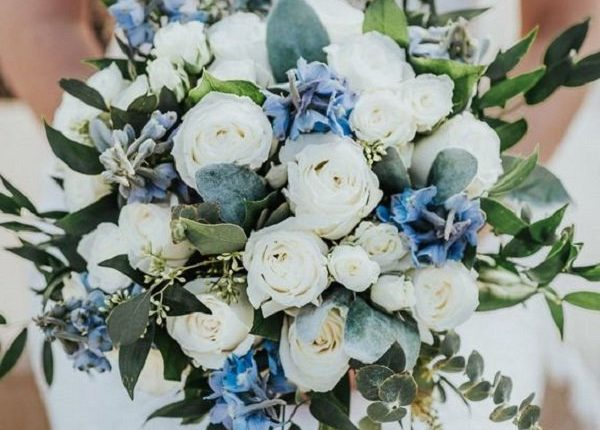 Classic blue white and greenery wedding bouquets