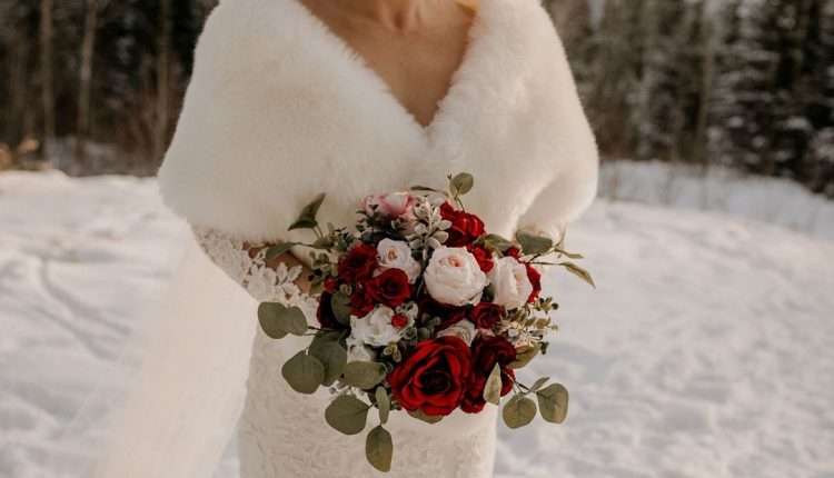 Red and blush wedding bouquets