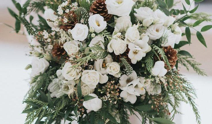 oversize organic winter wedding bouquets