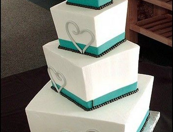 3-tier teal and black square wedding cake