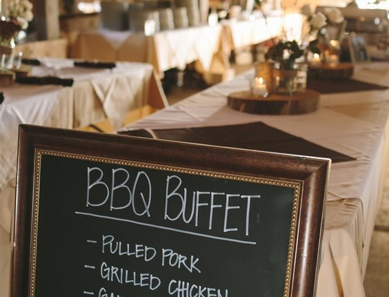 Barbecue Buffet Reception Dinner with Chalkboard Menu
