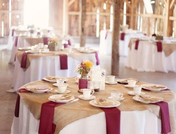 Barn burlap and burgundy wedding tablescape