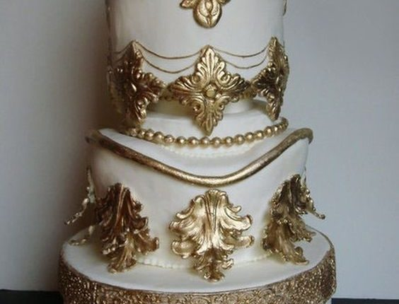Baroque gold and white wedding cake