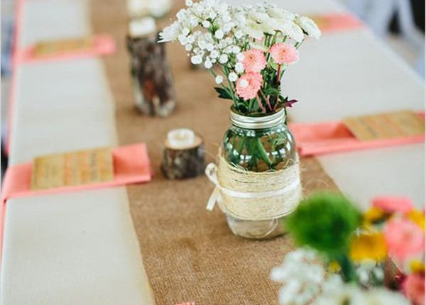 Buralap wedding table runner and wedding centerpieces