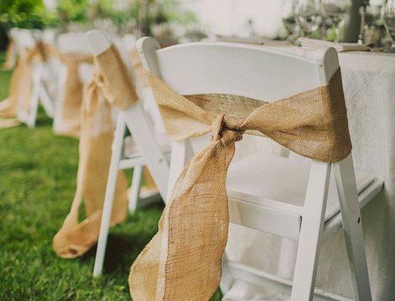 Burlap Wedding Chair Bows