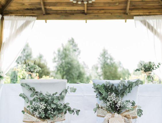 Chairs Bride Groom Foliage Greenery Hessian Lace Decor