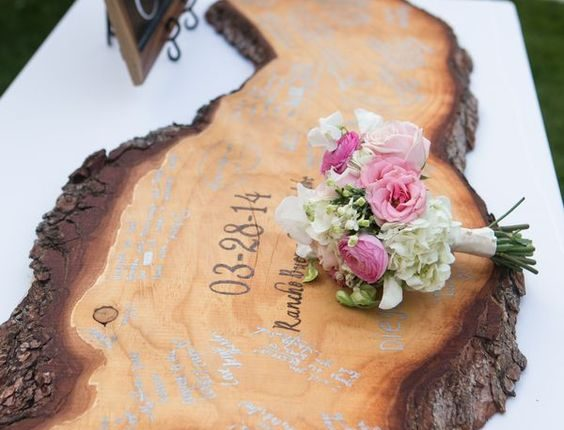Custom Wooden Slab made for a unique Guest Book