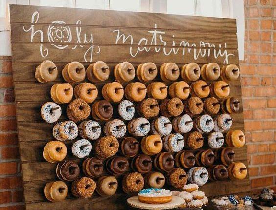 Cute Donut Wedding Food Display Wall Ideas