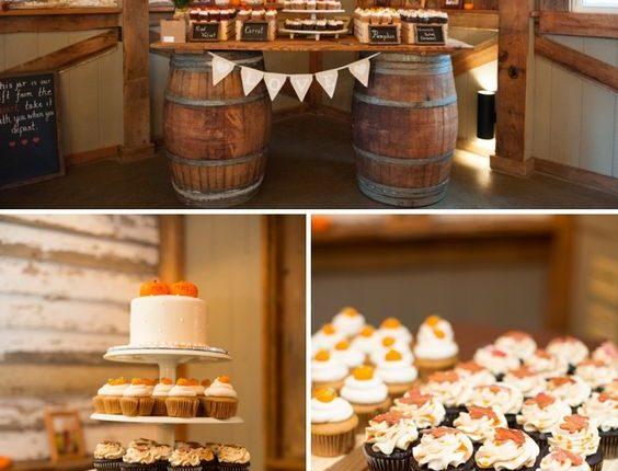 DIY fall barn wedding Cake & cupcake display