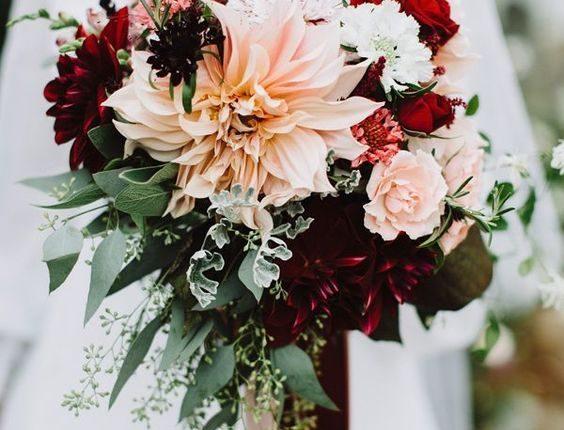 Dahlia bouquet with burgundy