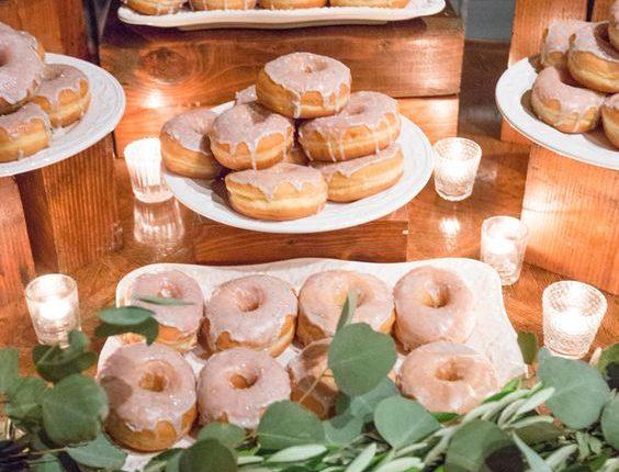 Donut dessert display wedding bar