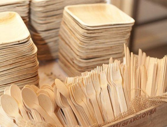Eco friendly palm leaf plates and wooden cutlery
