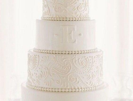 Elegant Monogram Wedding Cake