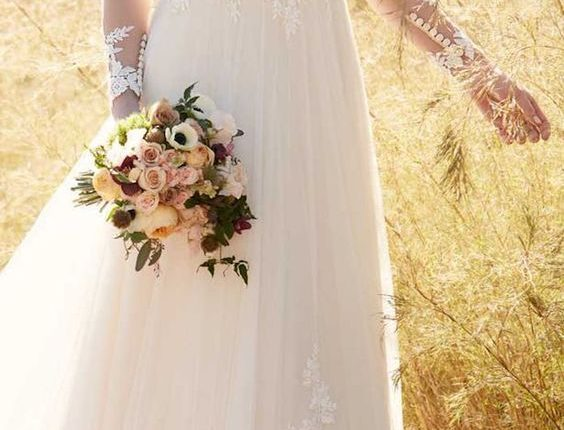 Essense of Australia Fall Wedding Dress with Long Sleeves
