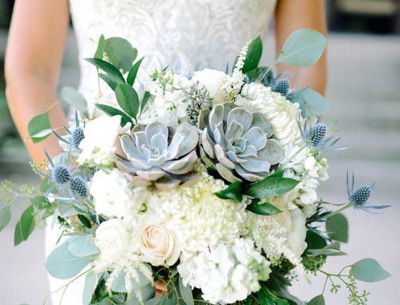 Eucalyptus and succulent wedding bouquet