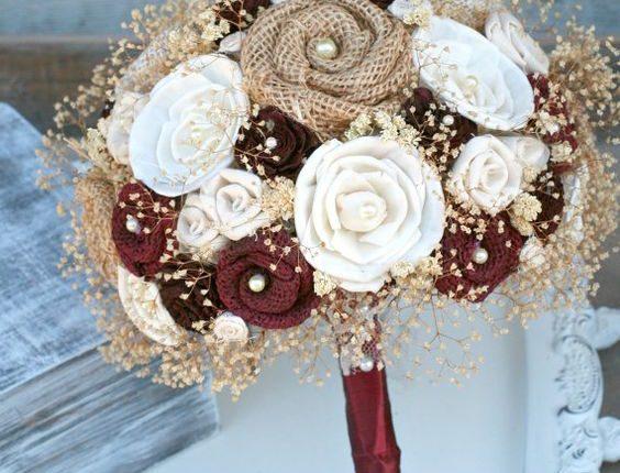 Handmade Maroon Rustic Heirloom Bride's Wedding Bouquet