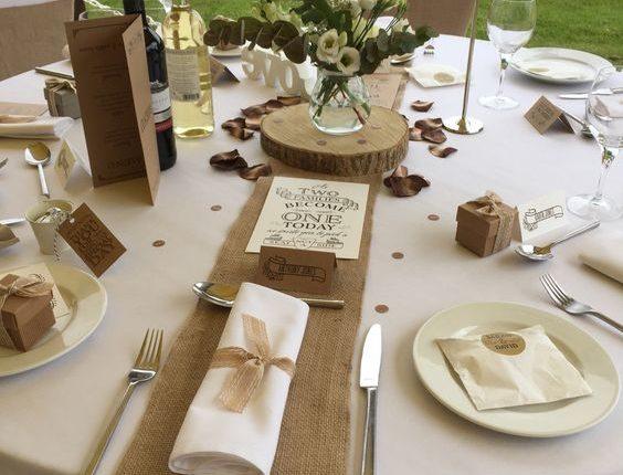 Hessian burlap wedding table runners