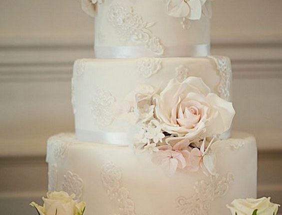 Ivory Wedding Cake with Lace Appliques
