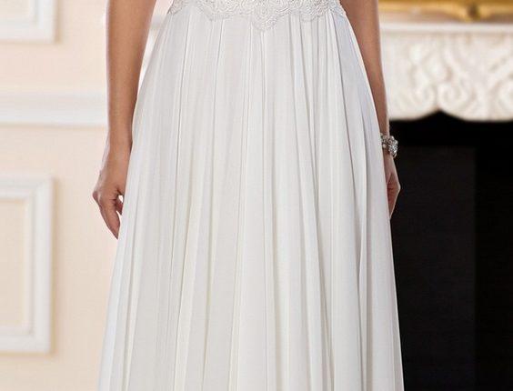 Lace and Chiffon Beach Wedding Gown by Stella York