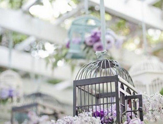 Lilac And Lavender Hanging birdcage wedding decor