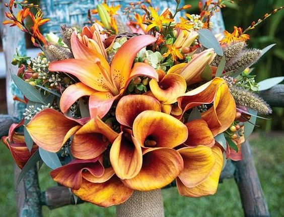 Lilies and burlap fall wedding bouquet