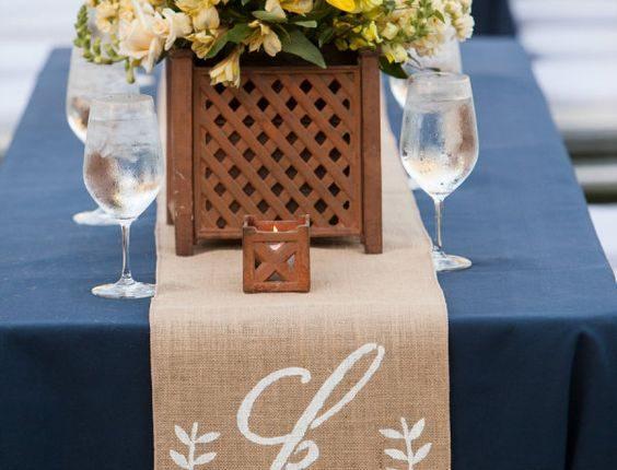 Monogram burlap table runner for the wedding reception
