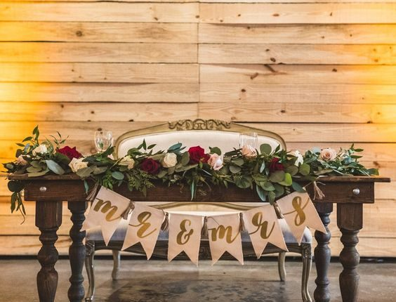 Mr and Mrs banner Greenery garland Sweetheart chair Table decor