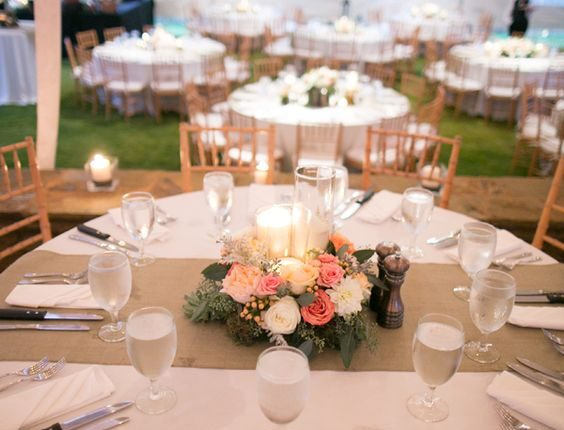 Peach and Pink Floral and Burlap Reception Decor